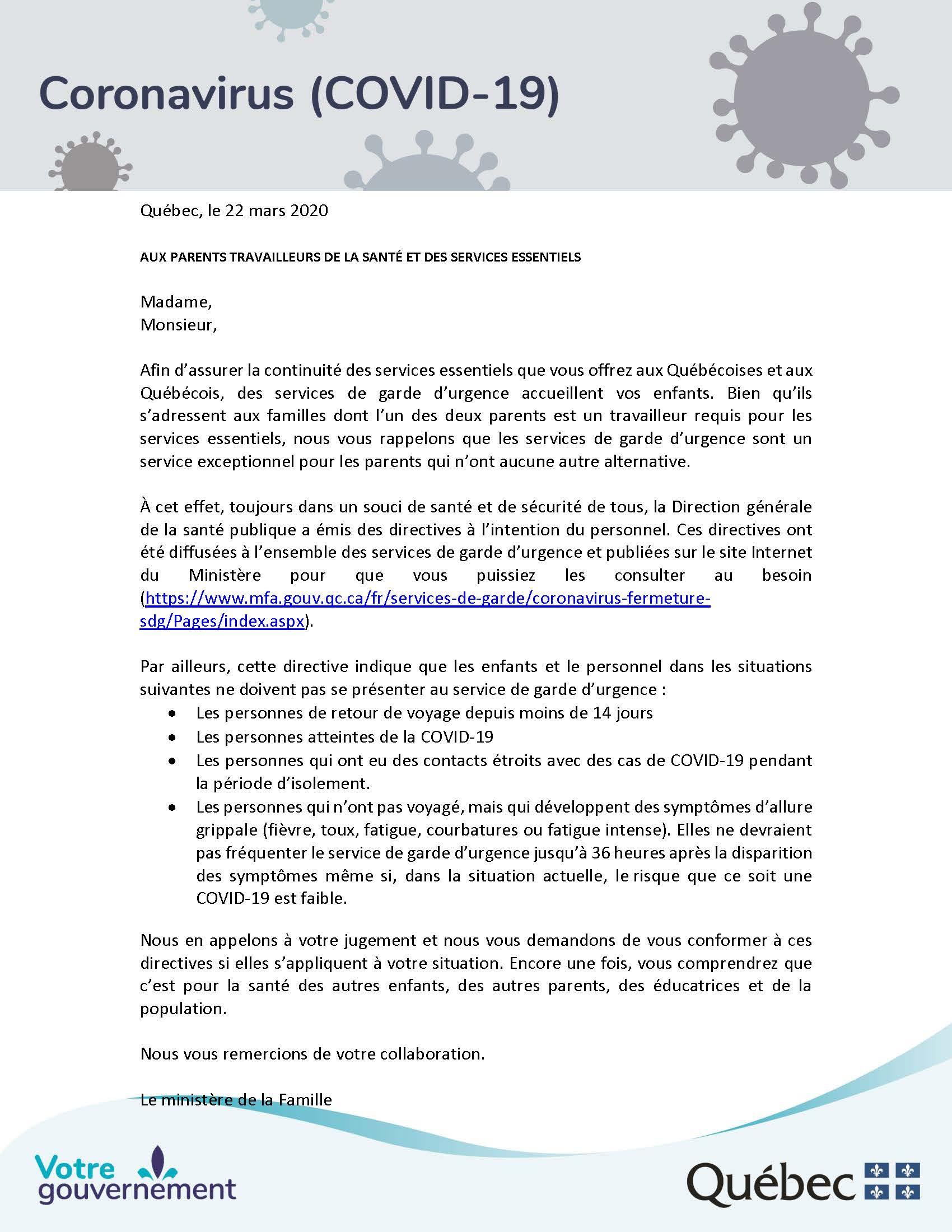 Lettre parents